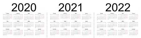 Set of russian 2020, 2021, 2022 year vector calendars. Week starts from Monday. Isolated vector illustration on white background.