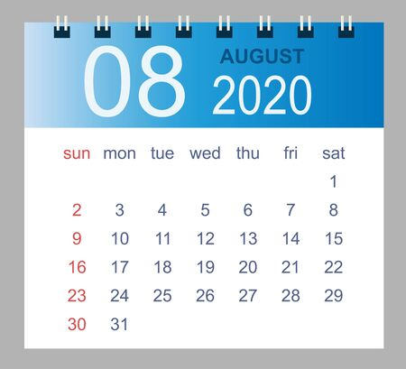 August 2020. Vector monthly calendar template 2020 year in simple style for template design. Week starts from Sunday.