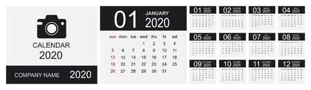 Calendar 2020 year. Simple Vector Template. Calendar design in black and white colors, holidays in red colors. Week Starts on Sunday. Vector illustration