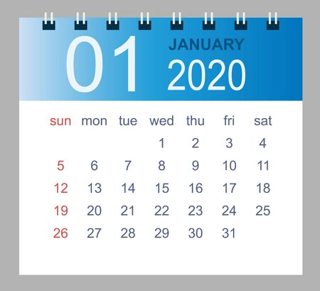 January 2020. Vector monthly calendar template 2020 year in simple style for template design. Week starts from Sunday.
