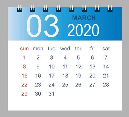 March 2020. Vector monthly calendar template 2020 year in simple style for template design. Week starts from Sunday.