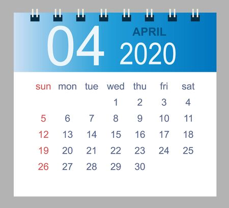 April 2020. Vector monthly calendar template 2020 year in simple style for template design. Week starts from Sunday.