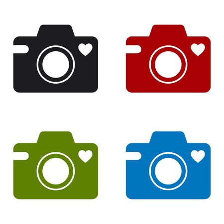 Camera icon with a heart symbol. Set of colored icons. Isolated vector illustration on white background.