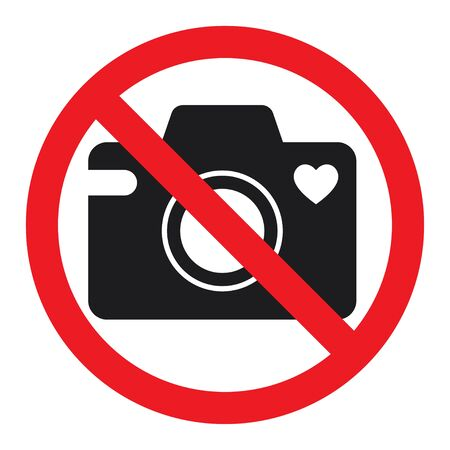 No cameras allowed sign. Flat icon in red crossed out circle. Isolated vector illustration on white background.  イラスト・ベクター素材