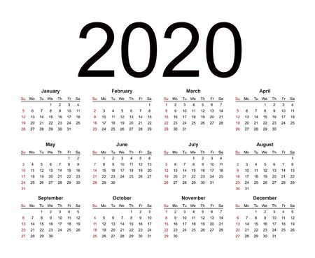 Calendar 2020 year simple style. Week starts from Sunday. Isolated vector illustration on white background.