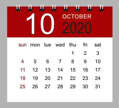 Simple desk calendar for October 2020. Week starts Sunday. Isolated vector illustration.