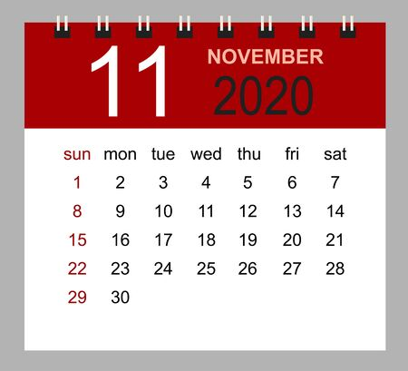 Simple desk calendar for November 2020. Week starts Sunday. Isolated vector illustration.