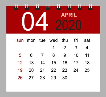 Simple desk calendar for April 2020. Week starts Sunday. Isolated vector illustration.  イラスト・ベクター素材