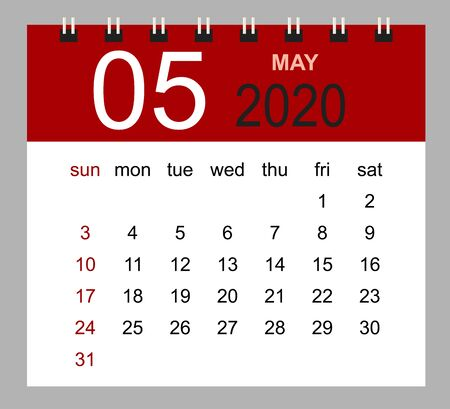 Simple desk calendar for May 2020. Week starts Sunday. Isolated vector illustration.
