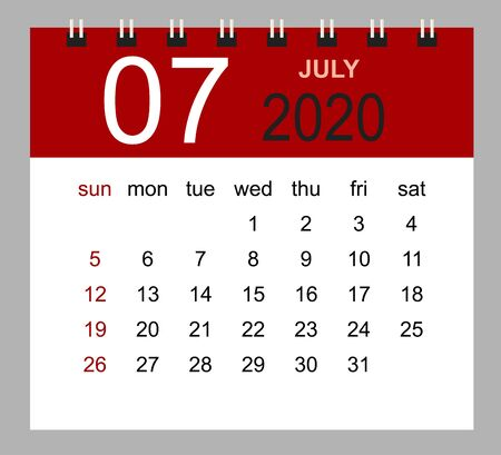 Simple desk calendar for July 2020. Week starts Sunday. Isolated vector illustration.  イラスト・ベクター素材