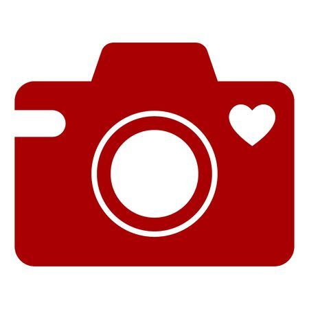 Camera icon with a heart symbol. Isolated vector illustration on white background.  イラスト・ベクター素材