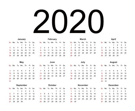 Calendar 2020. Week starts from Sunday, business template. Isolated vector illustration on white background.