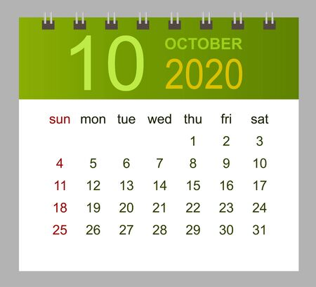 Template of calendar for October 2020. Week starts Sunday. Vector illustration.