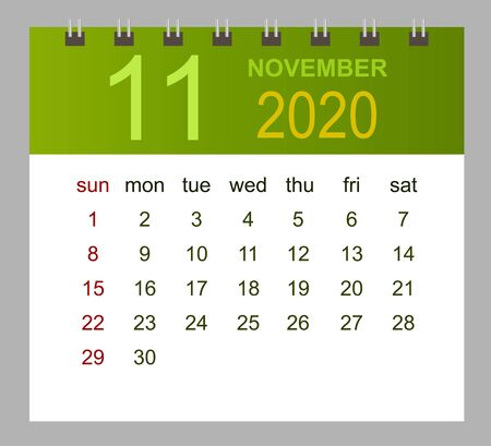 Template of calendar for November 2020. Week starts Sunday. Vector illustration.