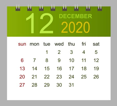 Template of calendar for December 2020. Week starts Sunday. Vector illustration.  イラスト・ベクター素材
