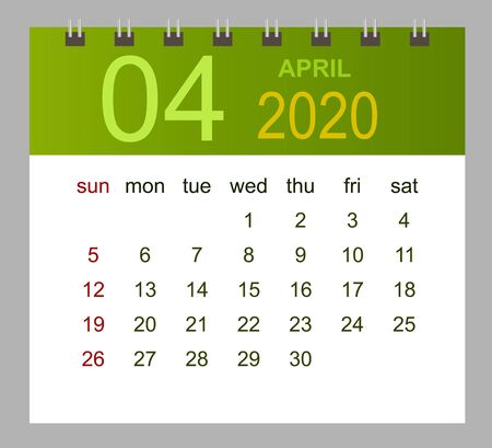 Template of calendar for April 2020. Week starts Sunday. Vector illustration.