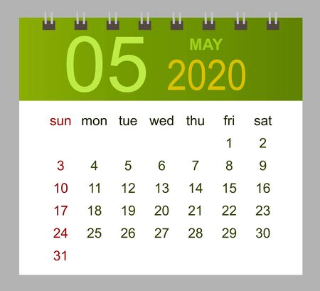 Template of calendar for May 2020. Week starts Sunday. Vector illustration.