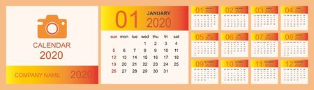 Calendar 2020, Set Desk Calendar template design with Place for Photo and Company Logo. Week Starts on Sunday. Isolated vector illustration