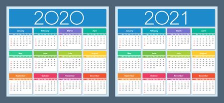 Calendar 2020, 2021. Colorful set. Week starts on Sunday. Isolated vector illustration.