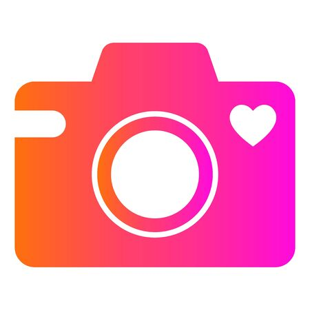 Camera icon with a heart symbol. Isolated vector illustration on white background. Illustration