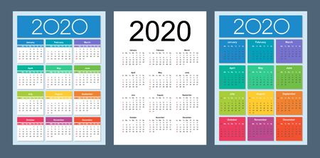 Calendar 2020 year. Basic grid. Vertical calendar design template. Isolated vector illustration.