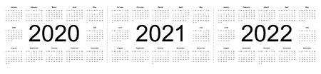 Simple calendar Layout for 2020, 2021 and 2022 years. Week starts from Sunday. Isolated vector illustration on white background.