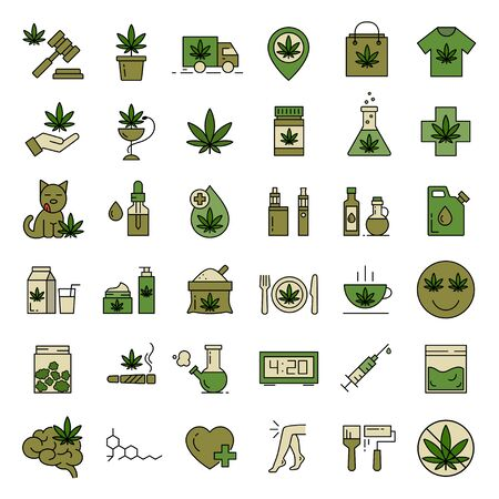 Marijuana icons. Set of medical cannabis icons. Drug consumption. Marijuana Legalization. Isolated vector illustration on white background.