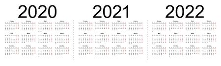 Calendar grid for 2020, 2021 and 2022 years. Simple horizontal template in Russian language. Isolated vector illustration on white background.  イラスト・ベクター素材