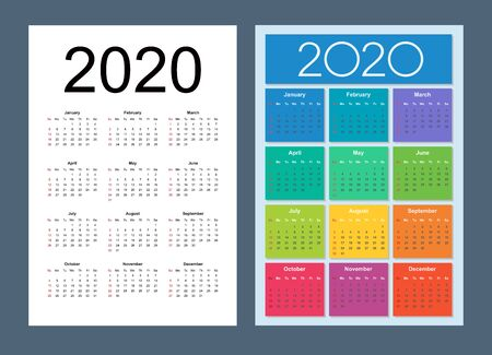 Calendar 2020 year set. Week starts on Sunday. Vertical calendar simple design template. Isolated vector illustration.  イラスト・ベクター素材