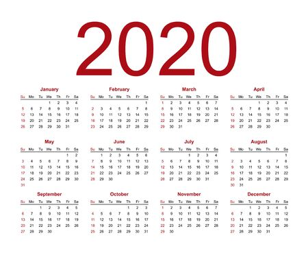 Calendar template for 2020 year. Week starts from Sunday. Isolated vector illustration on white background.  イラスト・ベクター素材