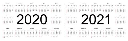 Simple calendar Layout for 2020 and 2021 years. Week starts from Sunday. Isolated vector illustration on white background.