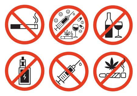 Forbidding vector signs. No smoking, no drugs, no vaping and no alcohol. Isolated illustration on white background.