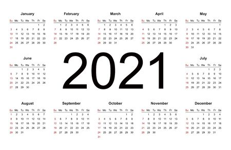 Calendar 2021 year simple style. Week starts from Sunday. Isolated vector illustration on white background.