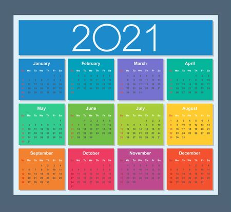 Colorful Calendar for year 2021. Week starts on Sunday. Isolated vector illustration. Illustration