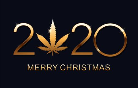 Gold Marijuana leaf and 2020 year. Happy New Year, Merry Christmas elegant text design for greeting card. Isolated vector illustration.