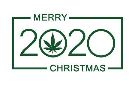 Christmas greeting card with marijuana leaf. Isolated vector illustration on white background. Stock Illustratie