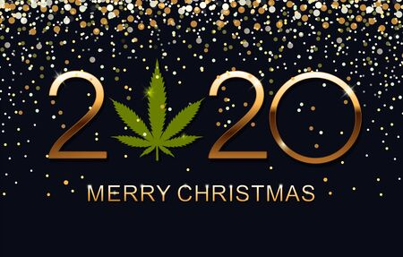 Green Marijuana leaf and 2020 year on blue background. Vector illustration Christmas and Happy New Year.