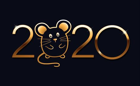 Happy New Year 2020 logo text design. Brochure design template, calendar, card, banner. Year of the rat according to the eastern calendar. Vector illustration. Isolated on blue background. Illustration