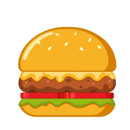 Burger Vector Illustration. Classic cheeseburger isolated on white background.