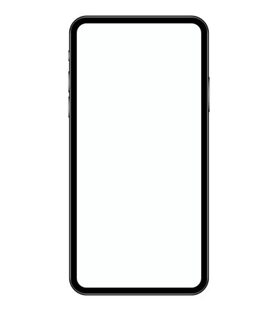 Smartphone isolated on white background. Mobile phone is designed to place ads or images on the screen. Template for application design. Stock vector illustration. Illustration