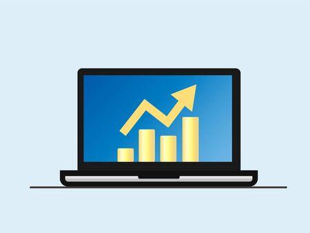Laptop profit concept. Stock vector illustration. Isolated Illustration