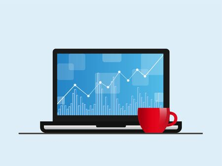 Laptop with positive forex chart on desktop with coffee cup. Stock vector illustration. Isolated. Ilustração