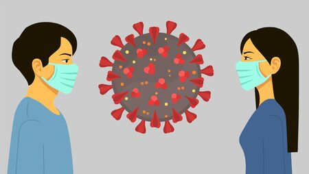 Man and woman wear medical mask, people who are in anxiety and fear because of the coronavirus. Concept of coronavirus quarantine. People in protective face masks. Isolated vector illustration. 写真素材 - 142375518