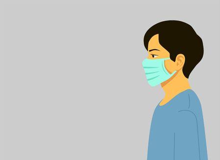 Novel coronavirus 2019-nCoV, man in blue medical face mask. Concept of coronavirus quarantine. Vector illustration flat design. Isolated. 写真素材 - 142375523