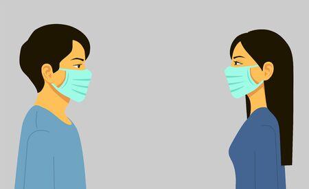 Epidemic. Novel coronavirus 2019-nCoV, man and woman in blue medical face mask. Concept of coronavirus quarantine. Vector illustration flat design. Isolated.