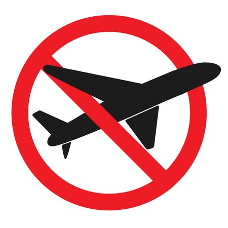 Concept suspension of air traffic. Stop aviation. Prohibiting Sign Planes Do Not Fly. No Airplane sign.Travel icon. Vector illustration of Departure Ban. Isolated on white background. Ilustração