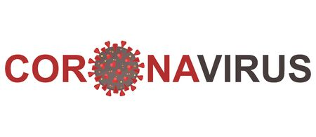 Inscription coronavirus on white background. Coronavirus 2019-nCov flu infection. Dangerous Coronavirus Cell. Illustration with red shapes on a gray sphere shape. Isolated. Illustration