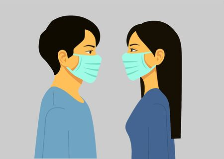 Man and Woman in medical face protection mask. Illustration for concepts of disease, sickness, allergies, pollution, coronavirus. Vector illustration flat design. Isolated.
