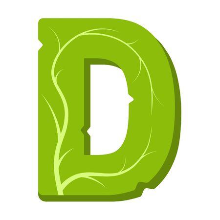 Letter D, green leaves summer vector alphabet. The simple of letter D green color. Isolated illustration on white background. Illustration