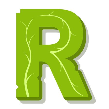 Letter R, green leaves summer vector alphabet. The simple of letter R green color. Isolated illustration on white background.